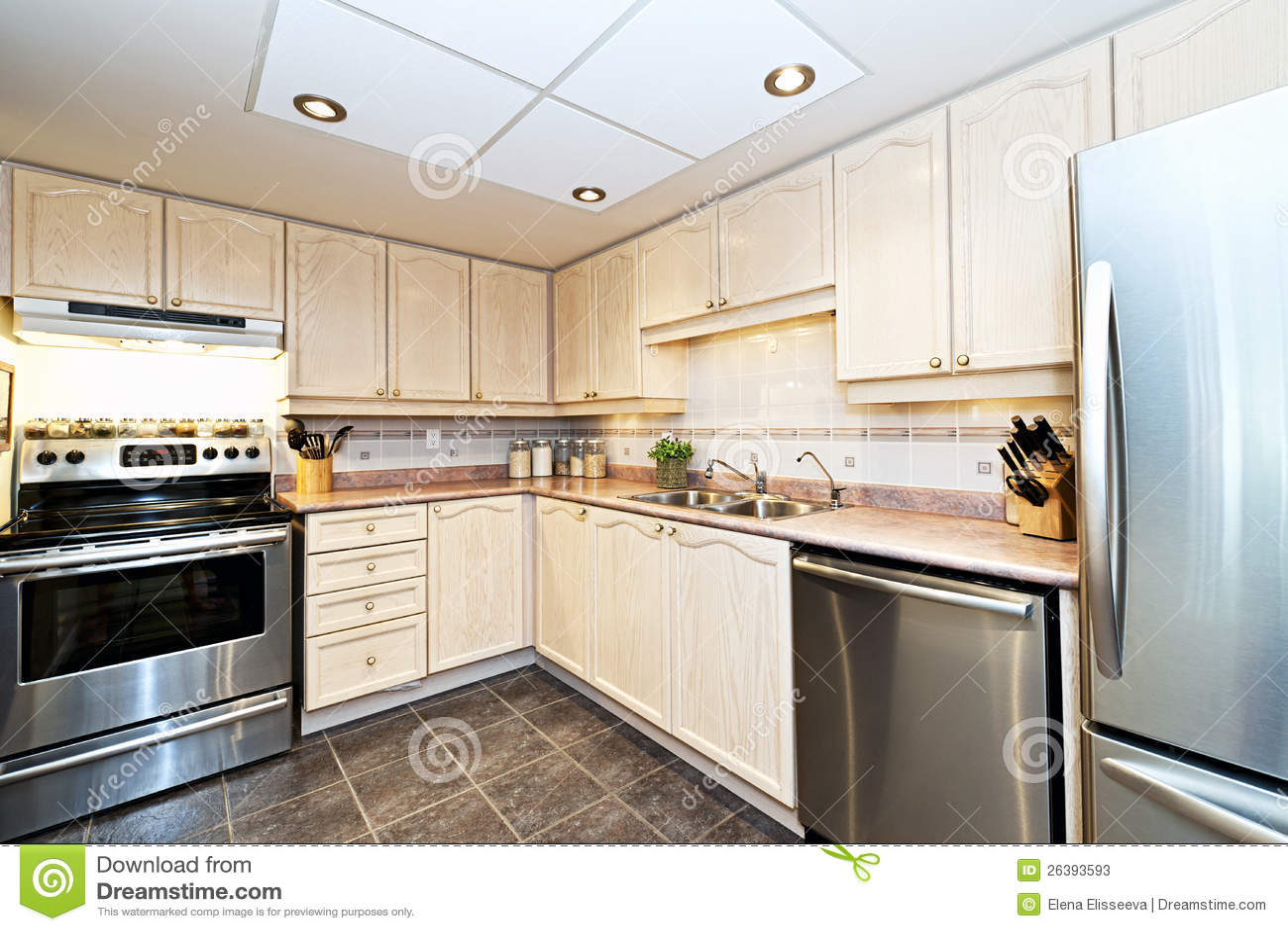 Modern Kitchen Appliances ~ Modern kitchen with appliances stock image of