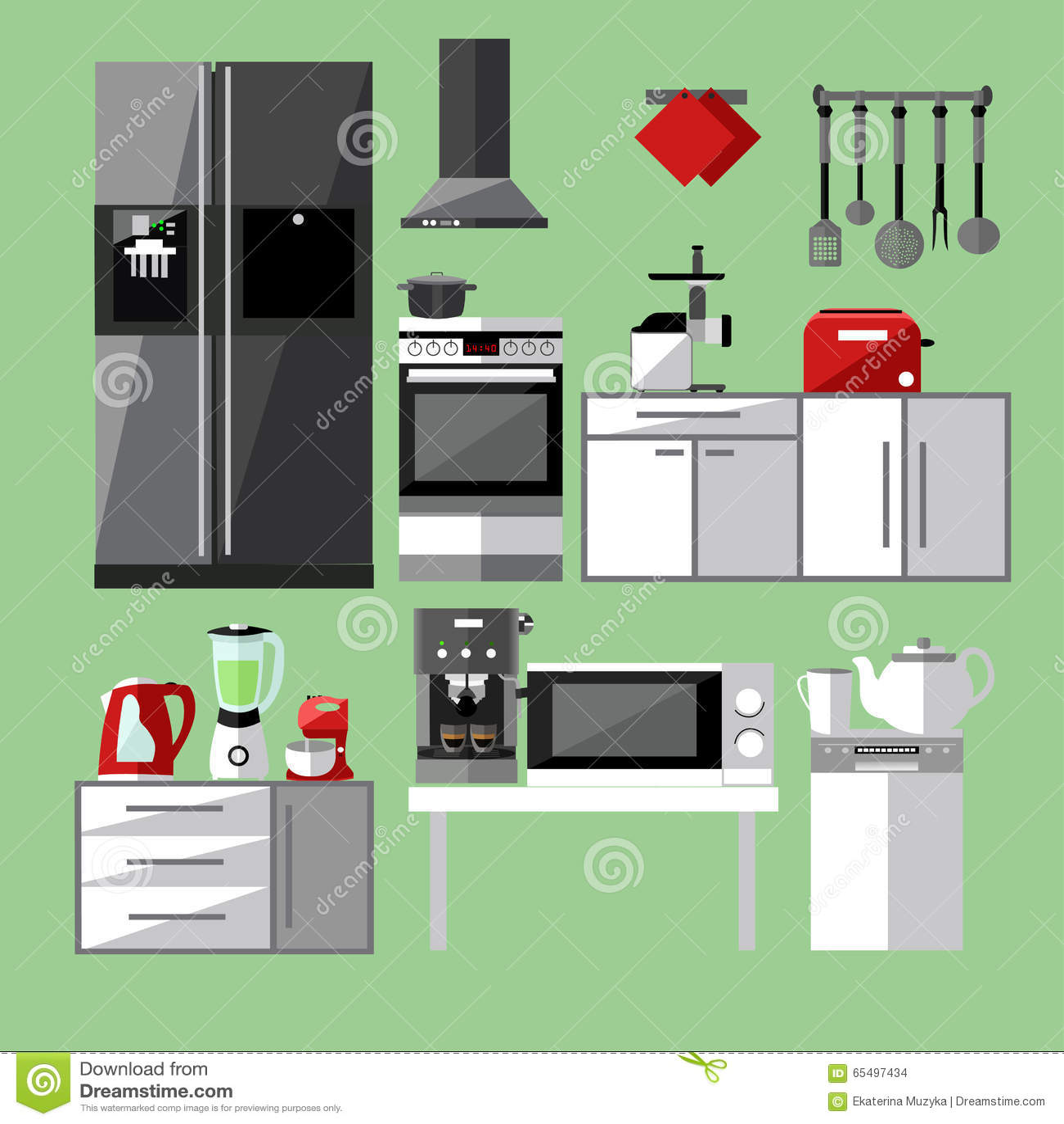 Modern Kitchen Appliances Set Vector Illustration Stock Vector Image 65497434