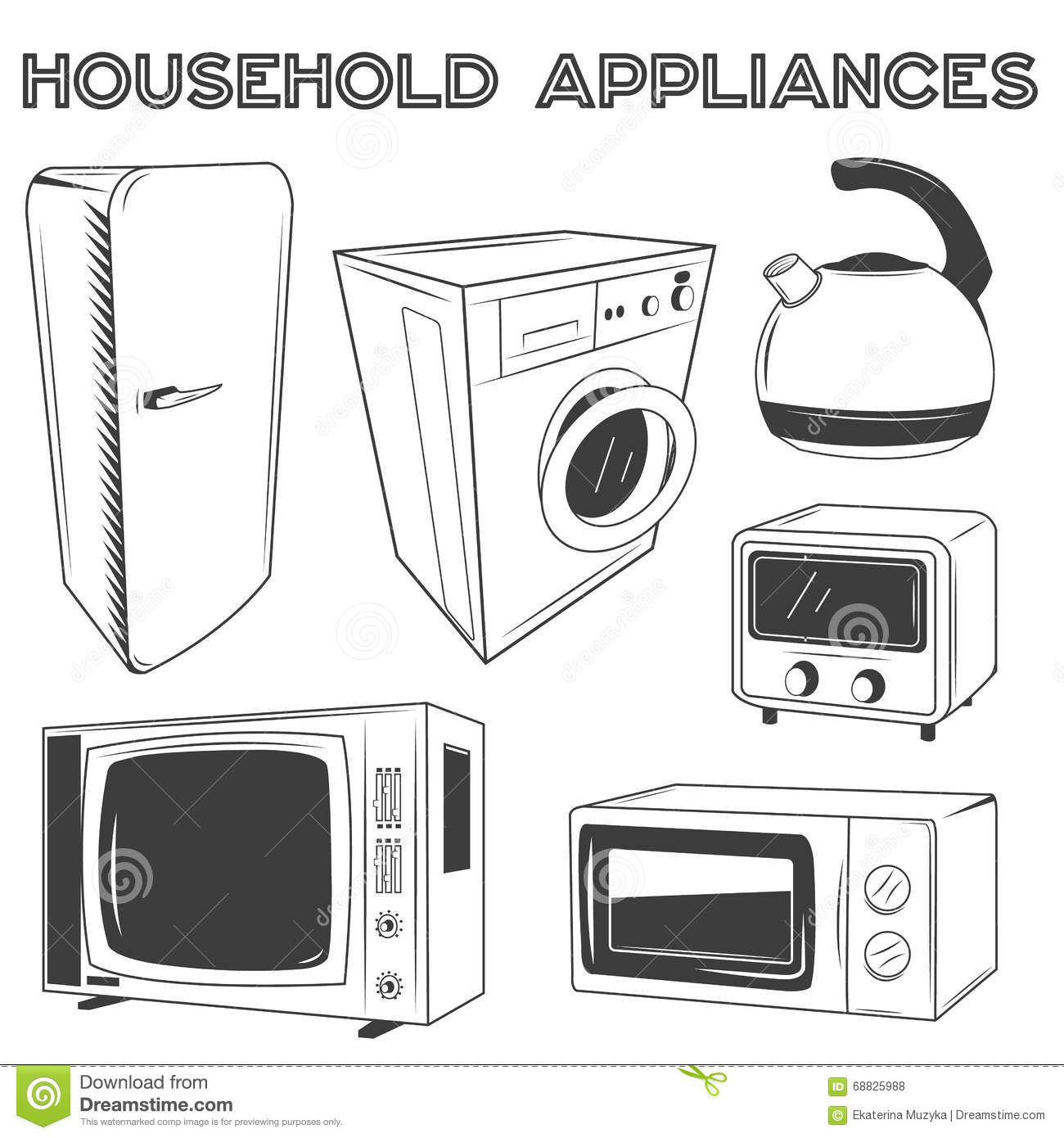 Set of home retro appliances royalty free stock for Household appliances design