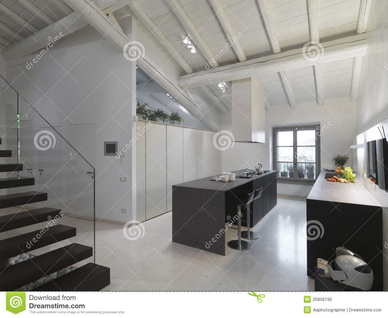 Modern Kitchen In The Attic Stock Photo Image 20858190