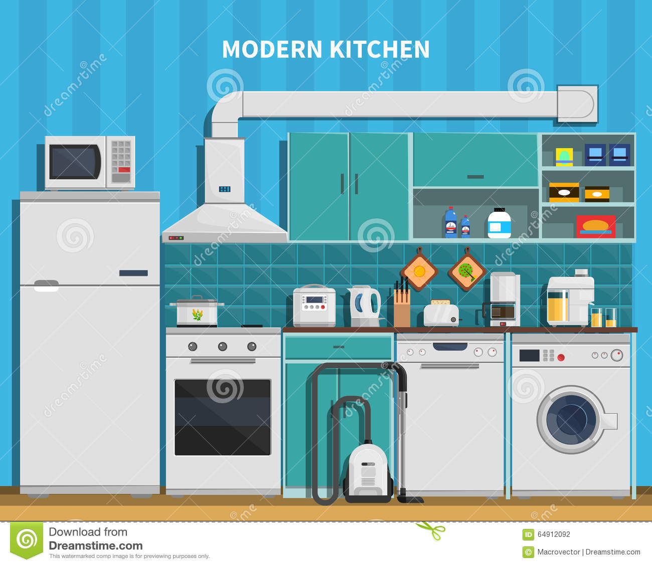 Modern Kitchen Background modern kitchen background stock vector - image: 64912092