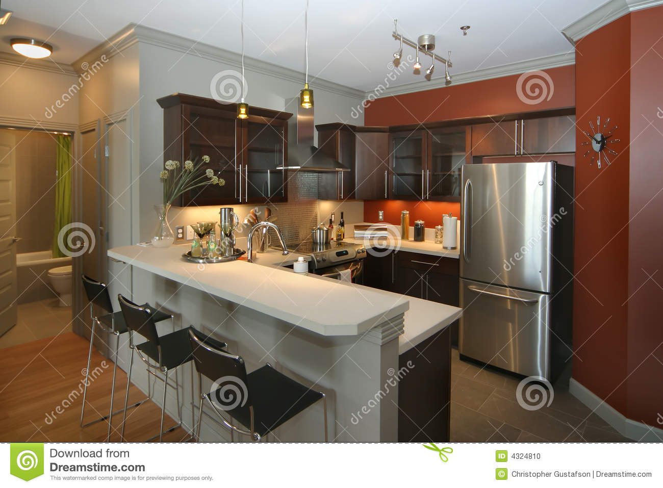 Modern kitchen with bar area stock photo image of for Des cuisines modernes