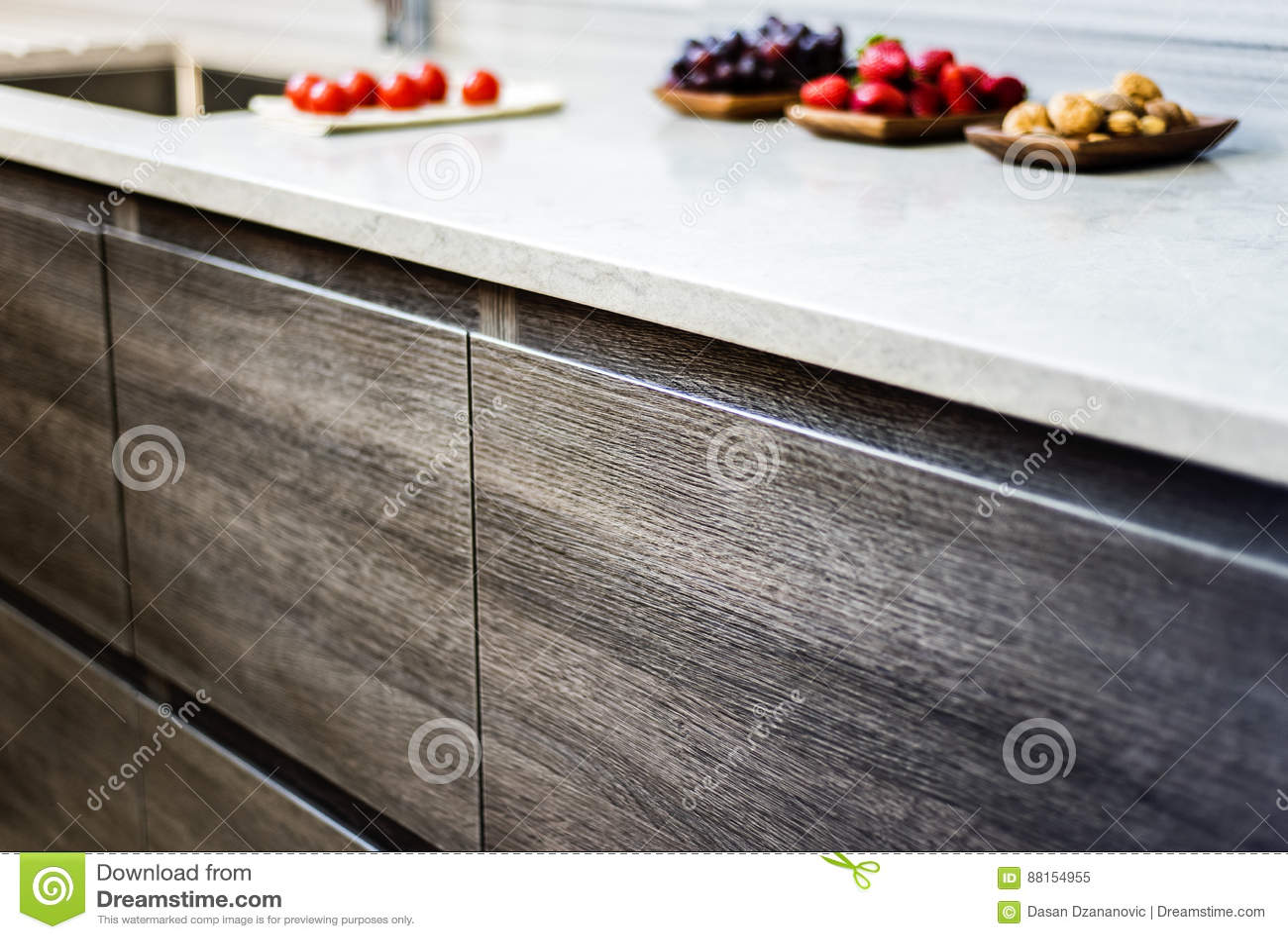 Modern Kitchen Base Cabinets Stock Image Image Of Renovated