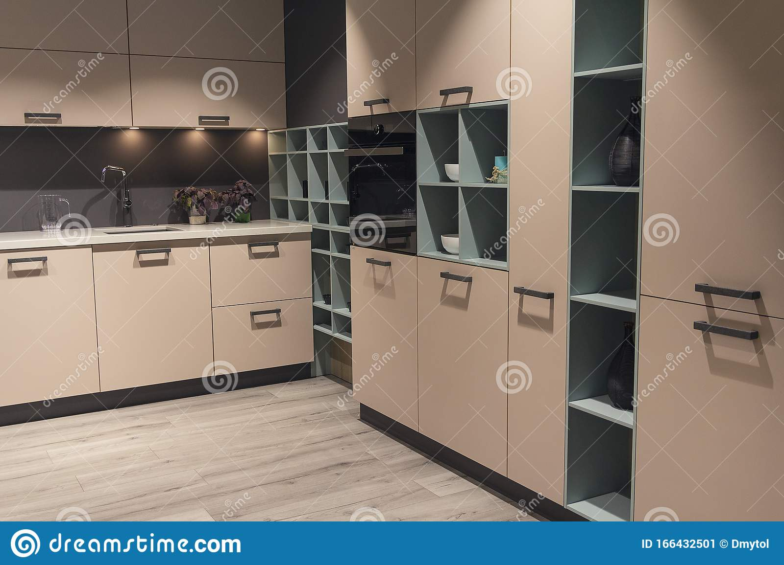 Modern Kitchen With Beige Kitchen Cabinets Stock Image Image Of Decoration Contemporary 166432501