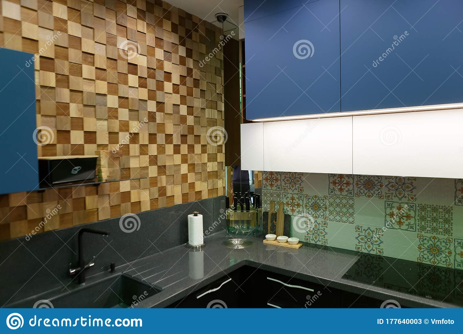 Modern Kitchen In Black And Blue Corner With A Wooden Wall Stock Image Image Of House Builtin 177640003