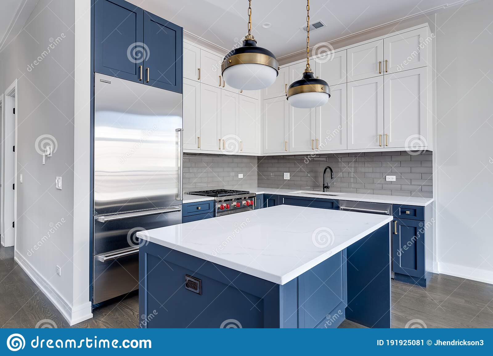 A Modern Kitchen With Blue And White Cabinets Editorial Photo Image Of Granite Elegant 191925081