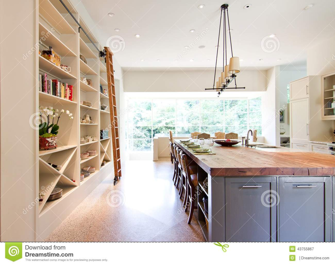 modern kitchen butcher block top island stock photo