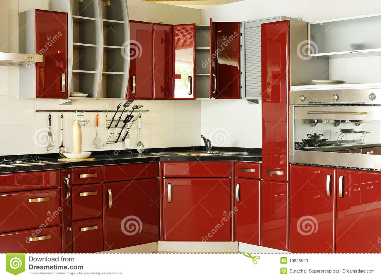 Modern kitchen cabinet door a deep red 02 stock photo - Cocinas color rojo ...