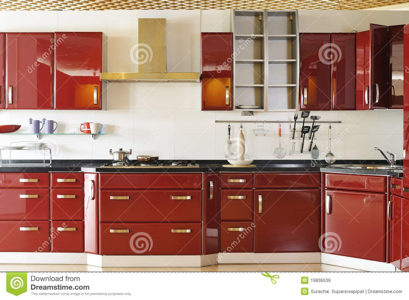 Modern Kitchen Cabinet Doors modern kitchen cabinet door a deep red 02 stock photo - image