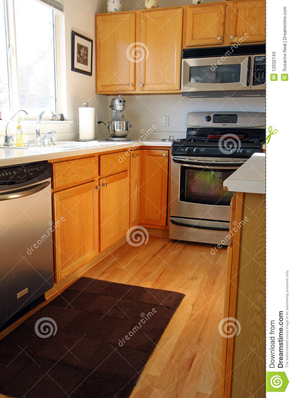 Modern kitchen cabinets in oak stock image image 12032743 for Contemporary oak kitchen cabinets