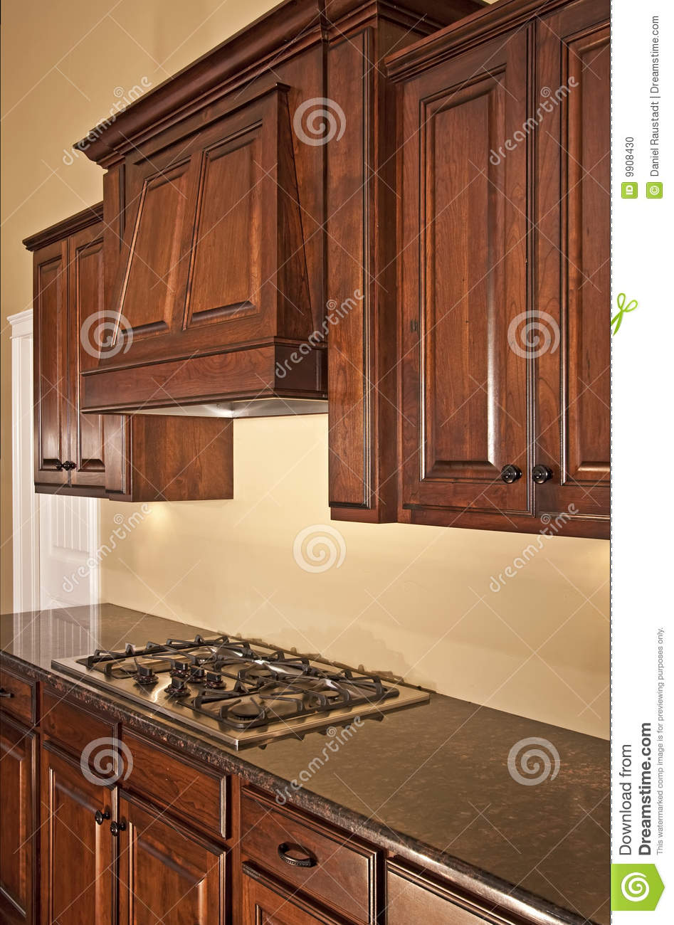 Modern Kitchen Cabinets Range Hood Stock Photo Image Of