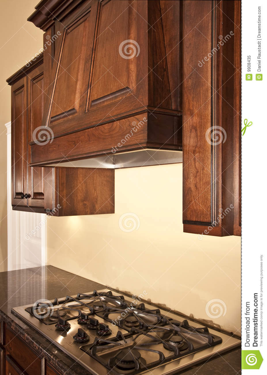 Modern Kitchen Cabinets Range Hood Royalty Free Stock