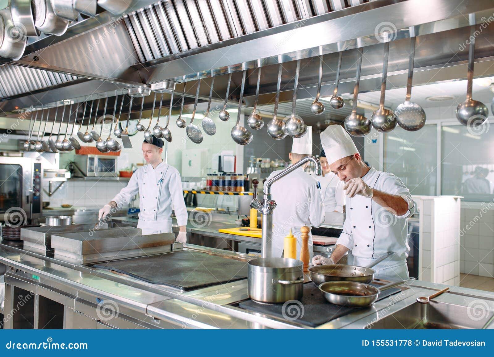 Modern Kitchen The Chefs Prepare Meals In The Restaurant S Kitchen Stock Photo Image Of Preparation Lifestyle 155531778