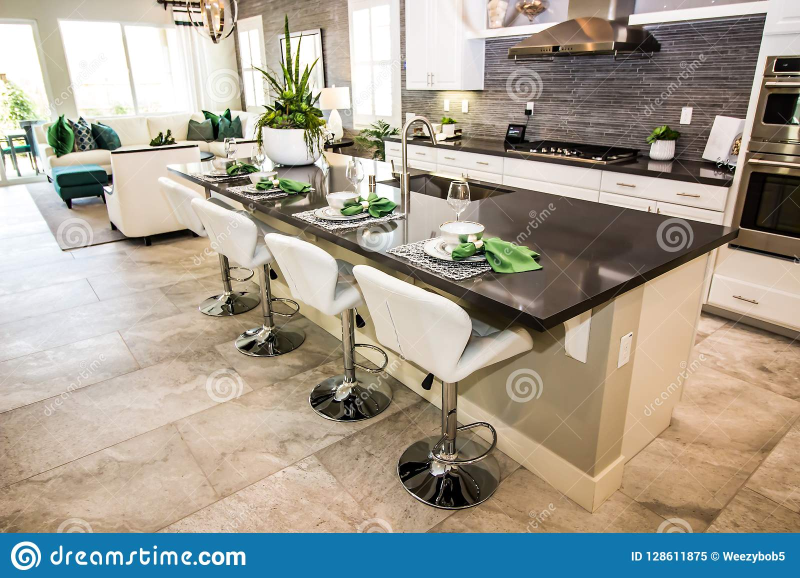 Modern Kitchen With Counter Bar & Stools Stock Image - Image ...