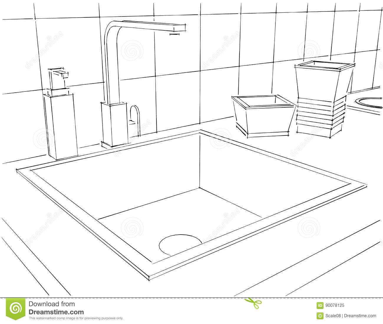 The Kitchen Sink Art Drawing Sketch Sketchbook By: Sketch Layout Drawing Of 3d Modern Corner Kitchen Interior
