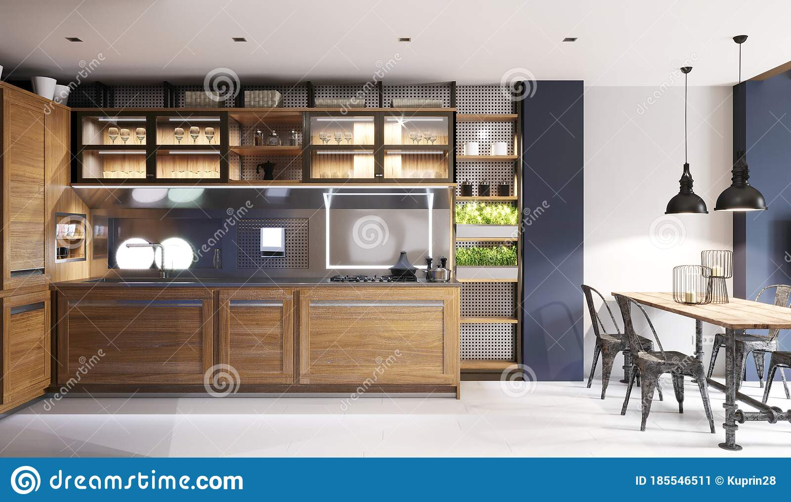 Modern Kitchen With Dark Blue Walls And Wooden Light Furniture And White Floor In Hipster Style Stock Illustration Illustration Of Flat Contemporary 185546511