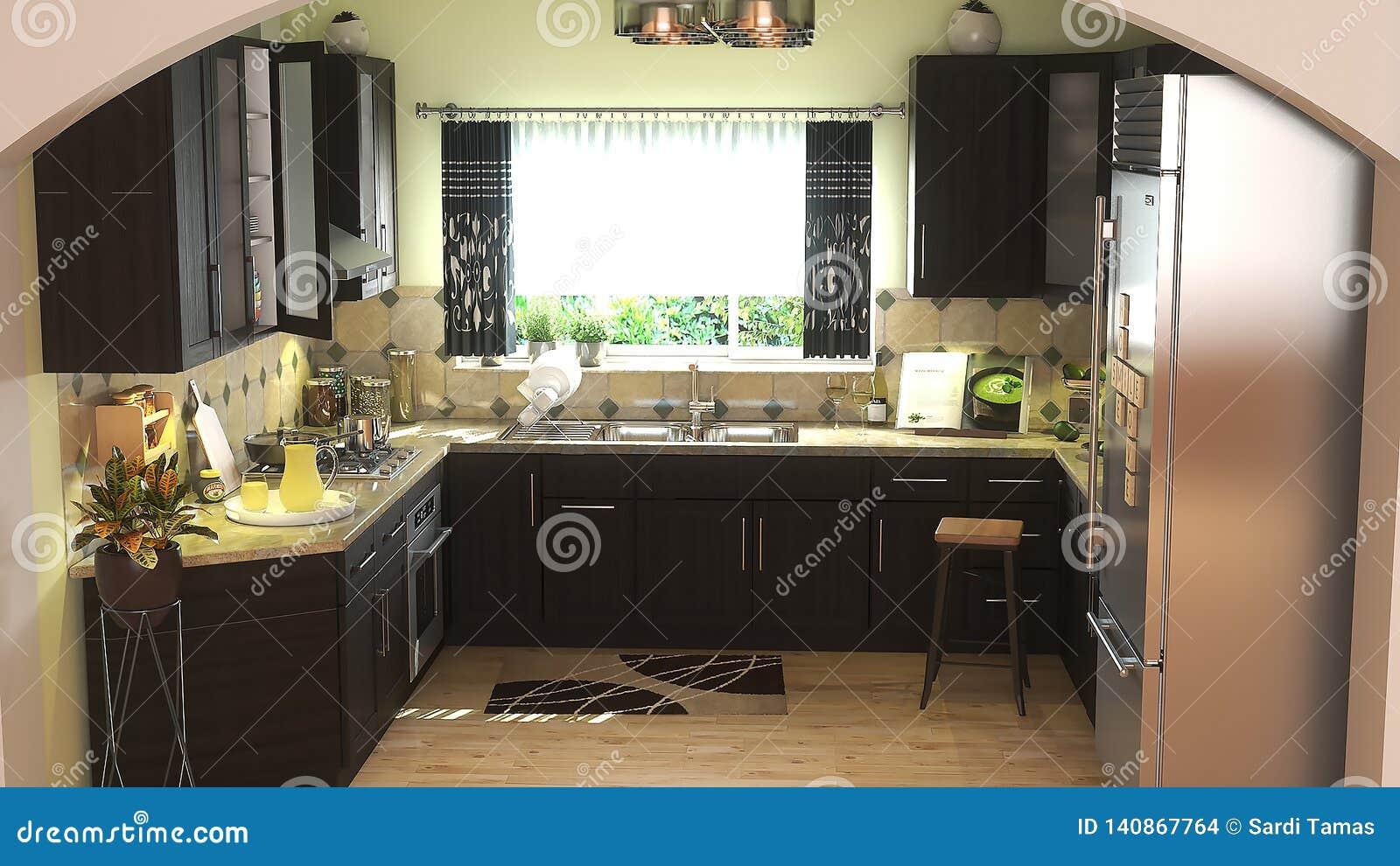 Modern kitchen with dark furniture 3D illustration