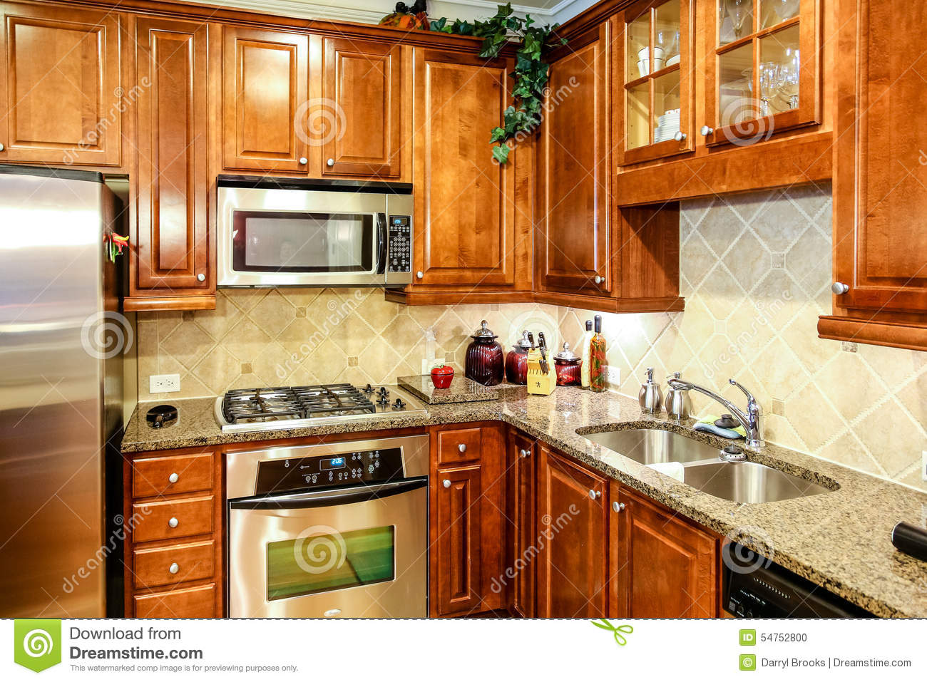 Modern Kitchen Wood Cabinets Modern Kitchen With Dark Wood Cabinets Stock Photo Image 54752800