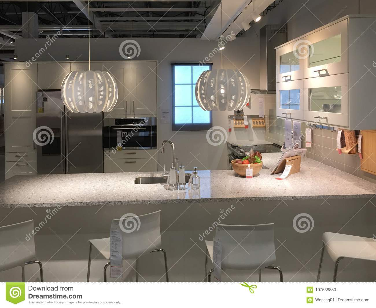modern kitchen design with counter at ikea editorial image - image