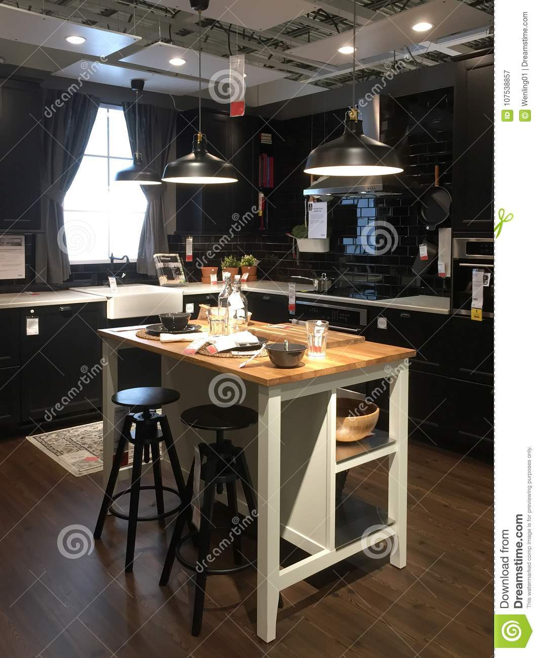 Modern Kitchen Design With Island At Store IKEA Editorial ...