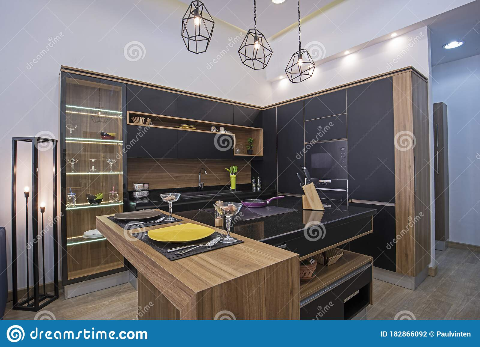 Modern Kitchen Design In A Luxury Apartment Stock Photo Image Of Brown Breakfast 182866092
