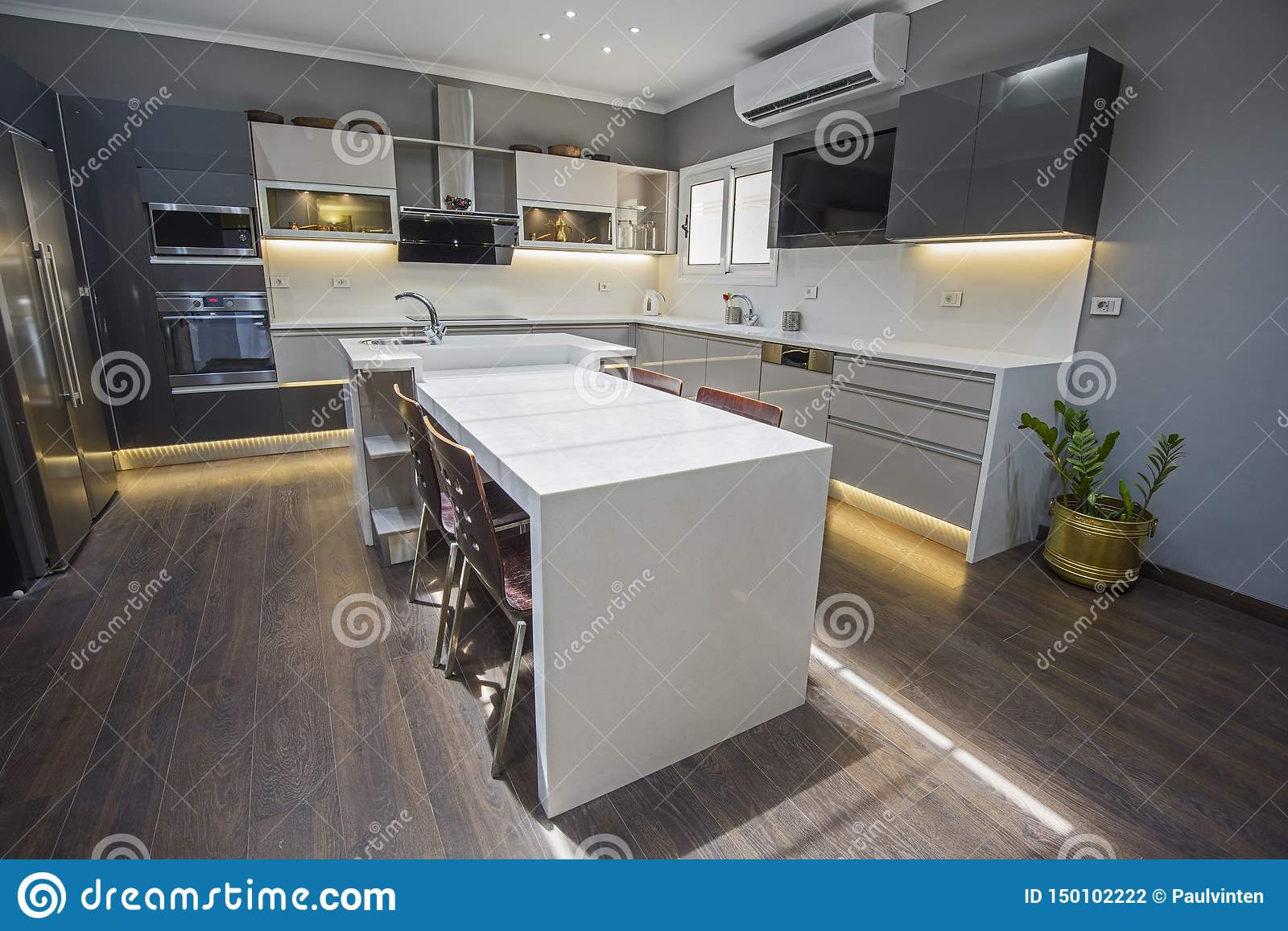Modern Kitchen Design In A Luxury Apartment Stock Photo Image Of Architecture Chair 150102222