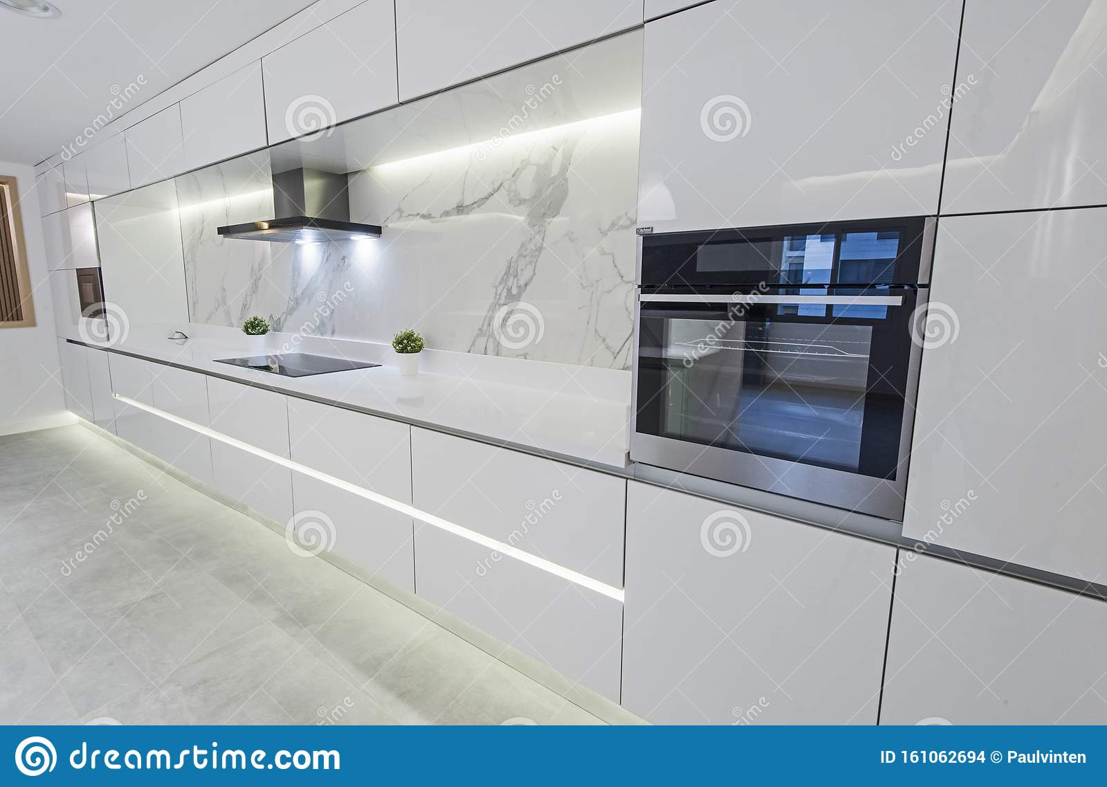 Modern Kitchen Design In A Luxury Apartment Stock Photo Image Of Drawer Cupboard 161062694