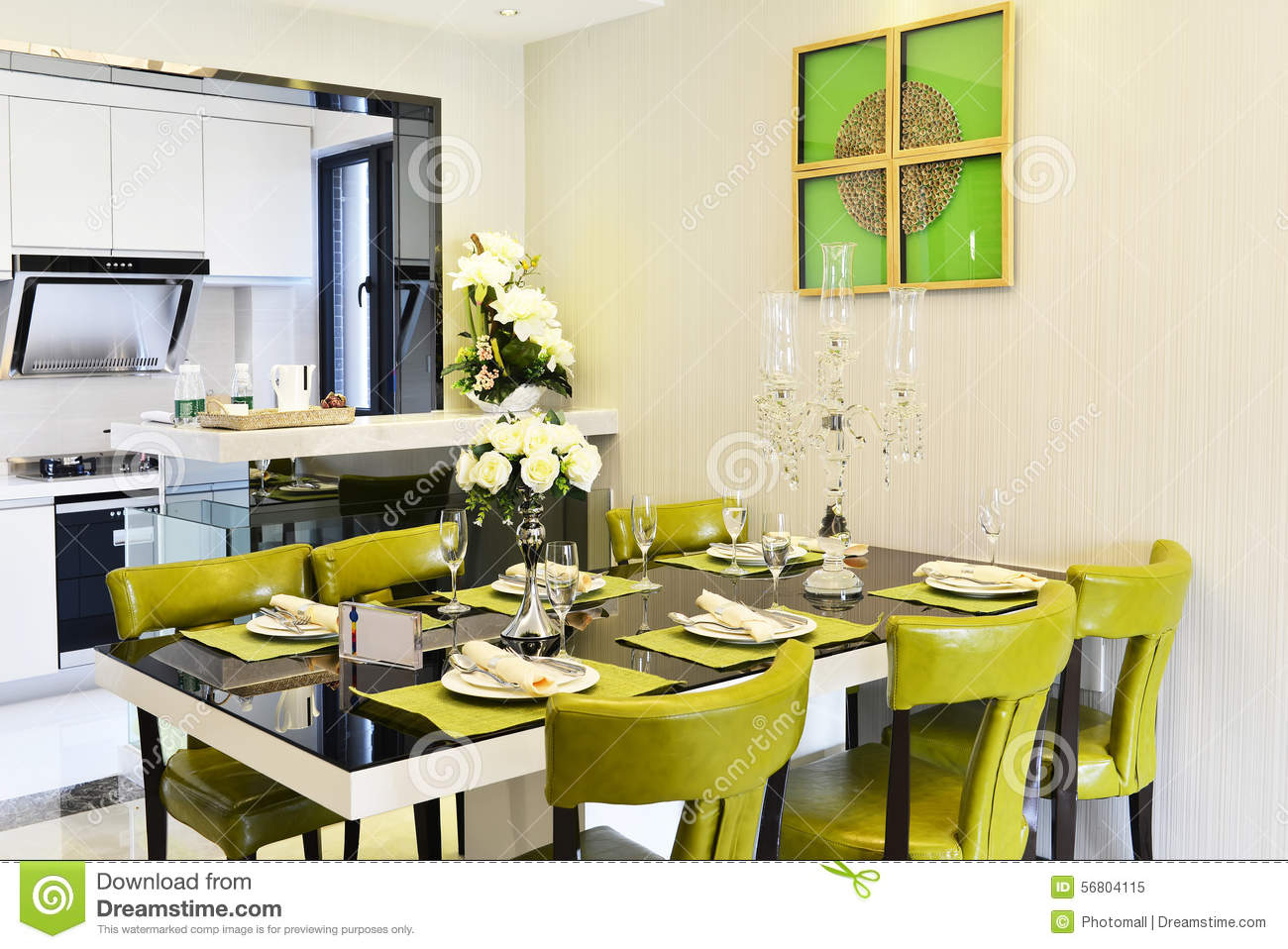 Modern dining area with kitchen royalty free stock image for Authentic chinese cuisine for the contemporary kitchen