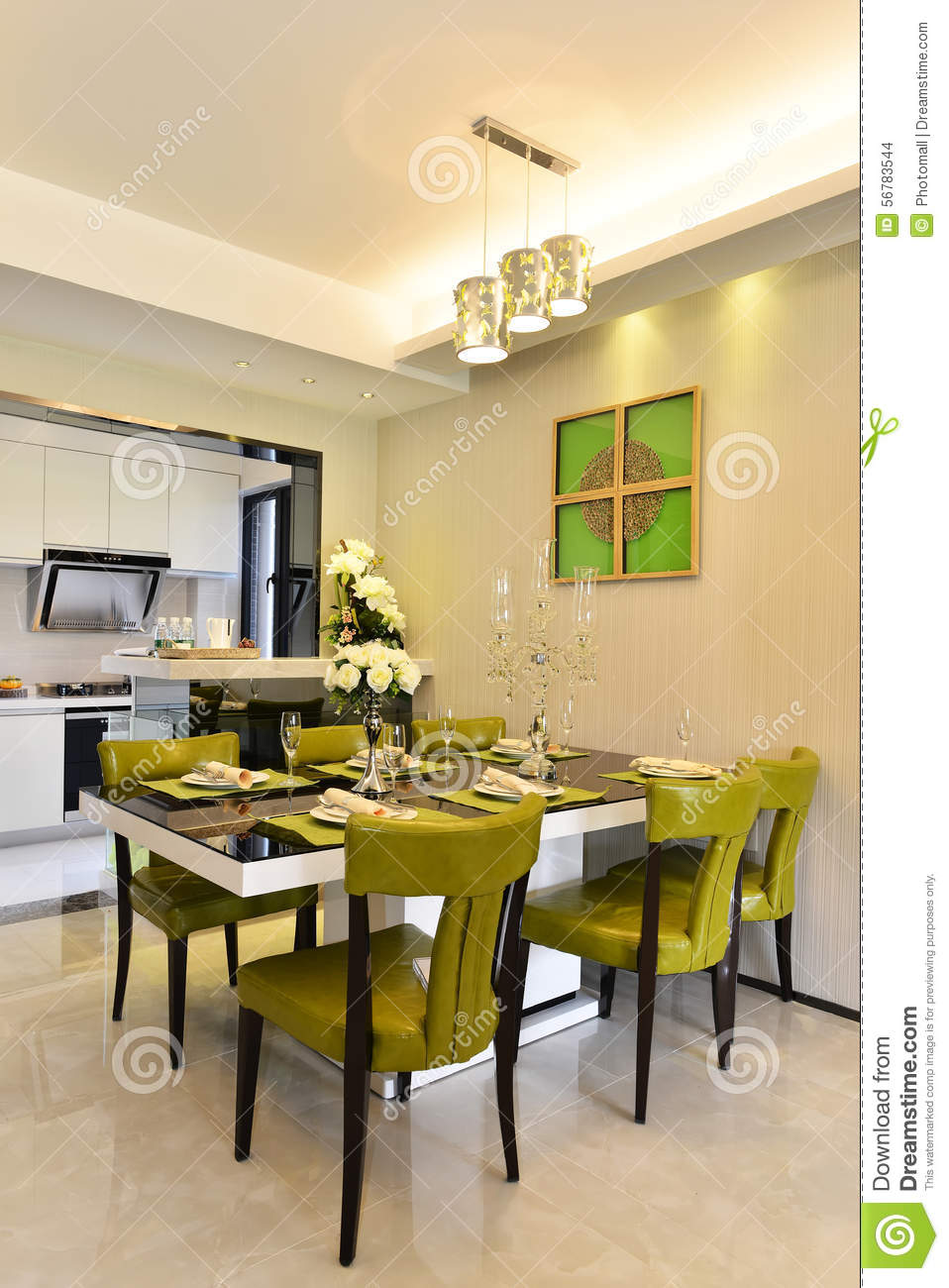 modern dining area with kitchen royalty free stock image 14466700. Black Bedroom Furniture Sets. Home Design Ideas