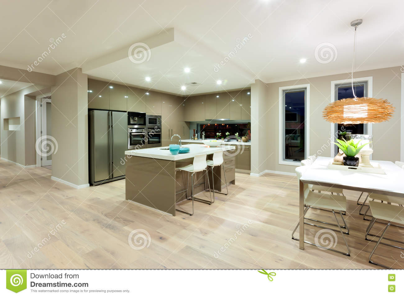 Modern kitchen and dinning area interior view of a modern house