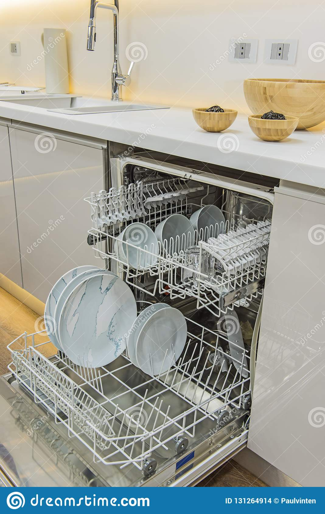 Modern Kitchen With Dishwasher In A Luxury Apartment Stock ...