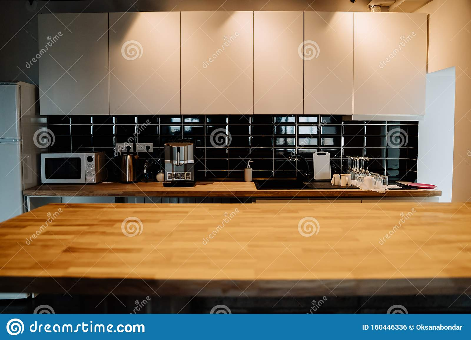 Modern Kitchen Features White Flat Front Cabinets Stock Photo Image Of Dishware Apartment 160446336