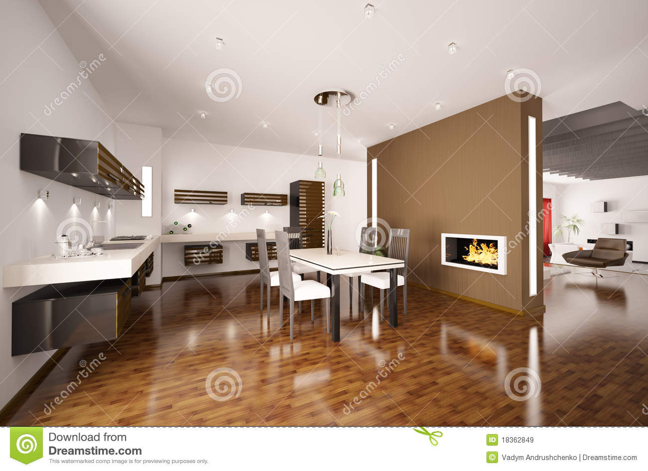 Modern Kitchen With Fireplace 3d Render Stock Illustration ...