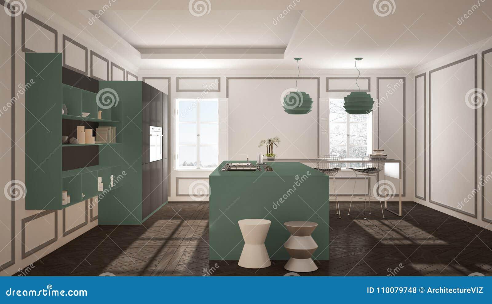 old kitchen furniture. Modern Kitchen Furniture In Classic Room, Old Parquet, Minimalis Stock Illustration - Of Inside, Mansion: 110079748