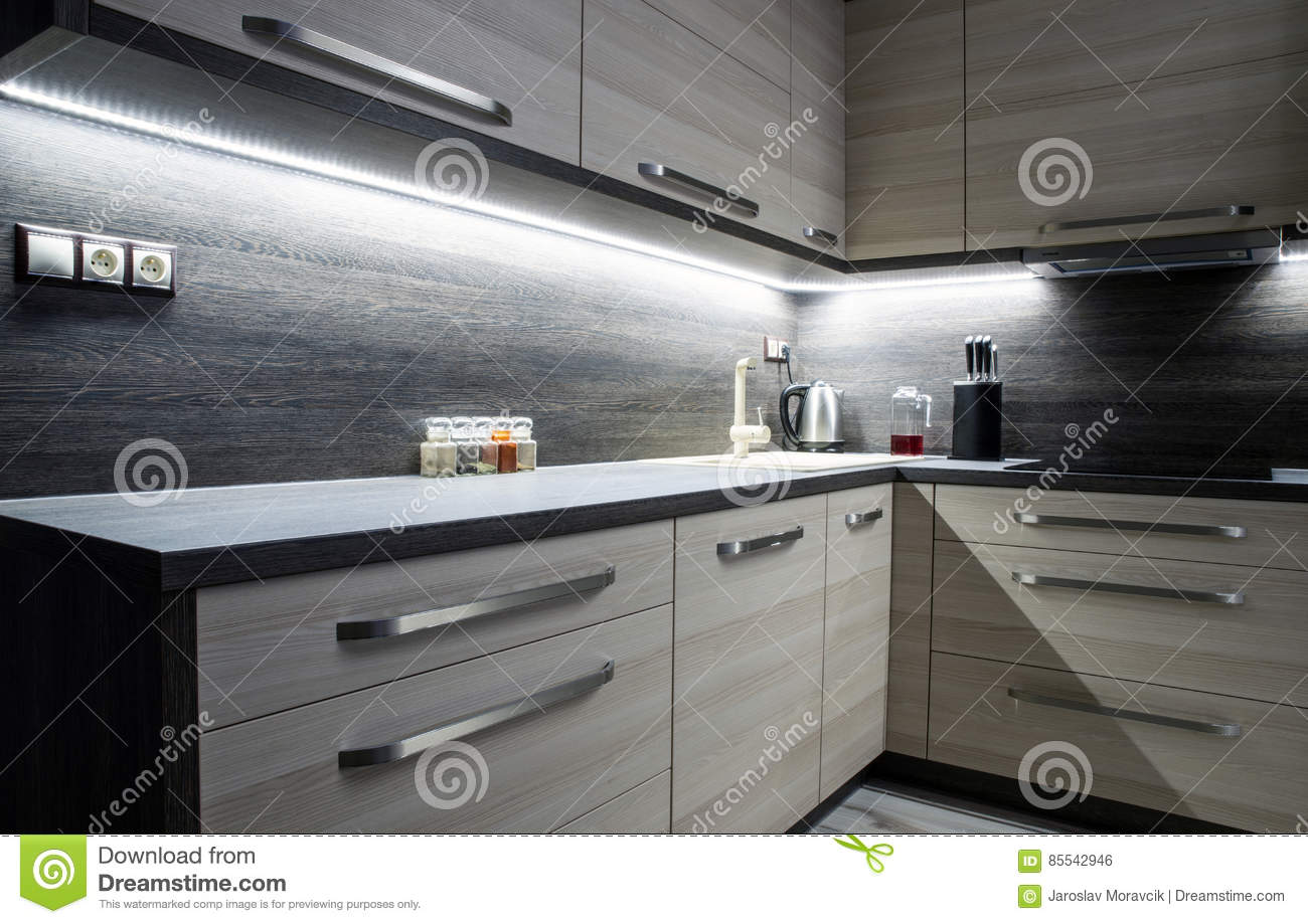 Fabulous Modern Kitchen Furniture Stock Photo Image Of Backlight Home Remodeling Inspirations Cosmcuboardxyz