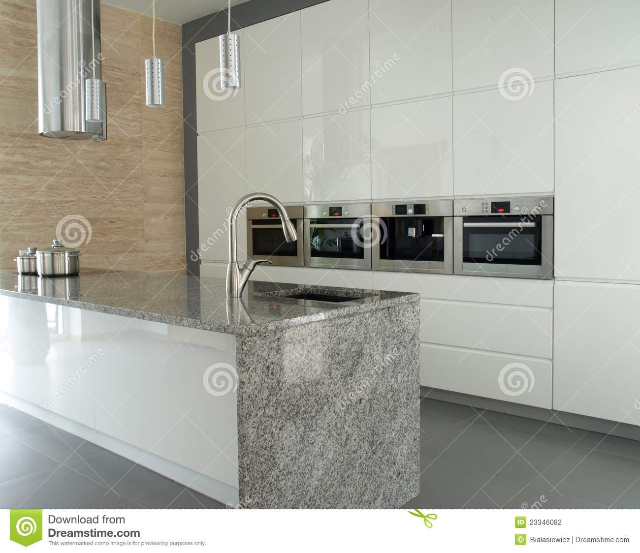 Kitchen Modern Granite modern kitchen with granite countertop stock photography - image
