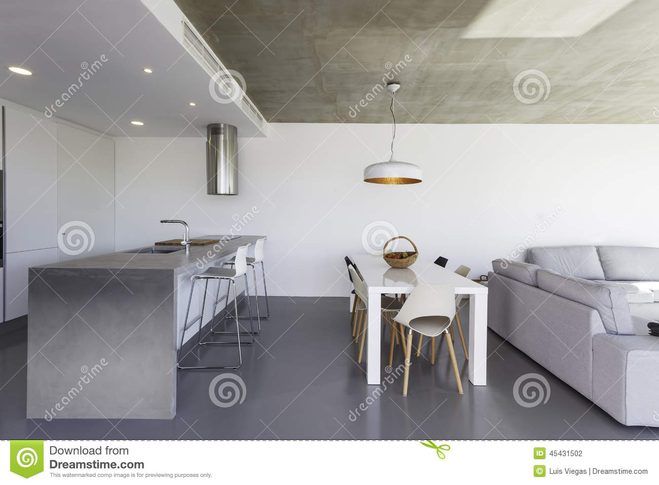Gray Tile Floor Kitchen Tile Floor In Modern Kitchen Royalty Free Stock Image Image 7250536