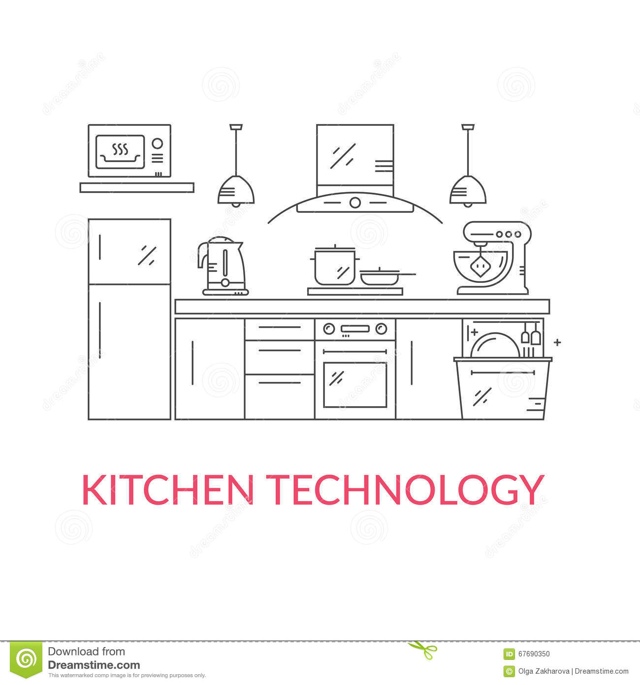 Modern kitchen illustration 67690350 megapixl
