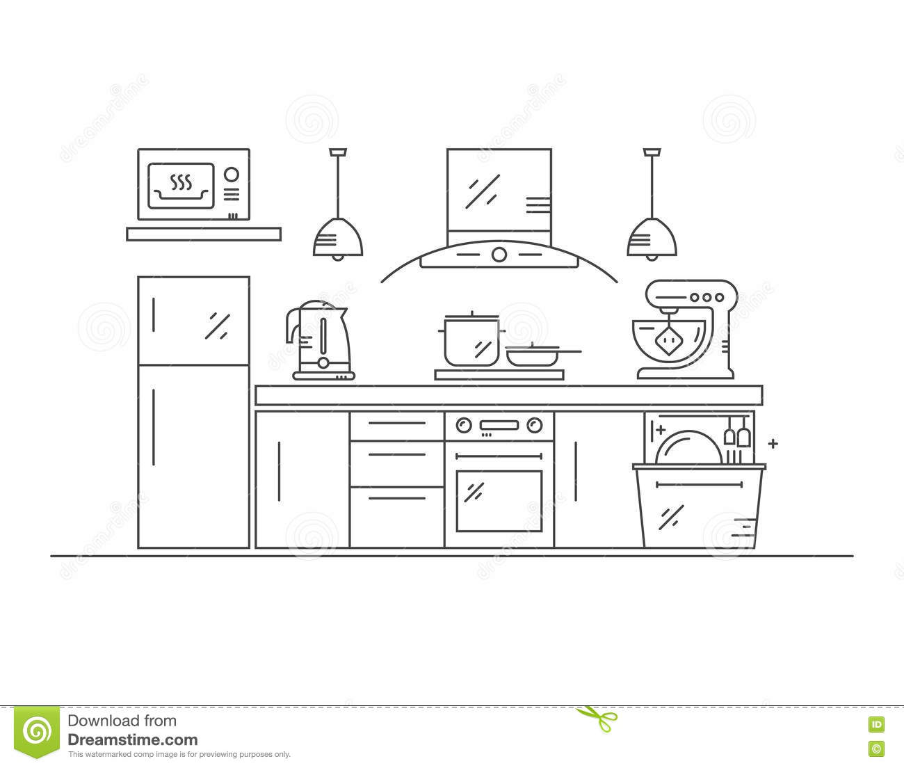 Modern Kitchen Illustration Stock Vector Illustration Of Cooking Concept 82379563