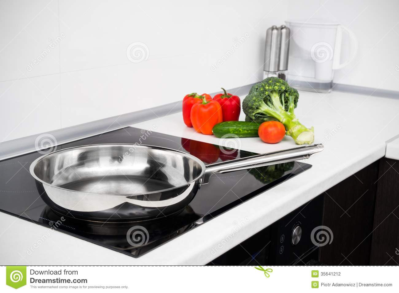 Modern Kitchen Stove modern kitchen with induction stove stock photography - image