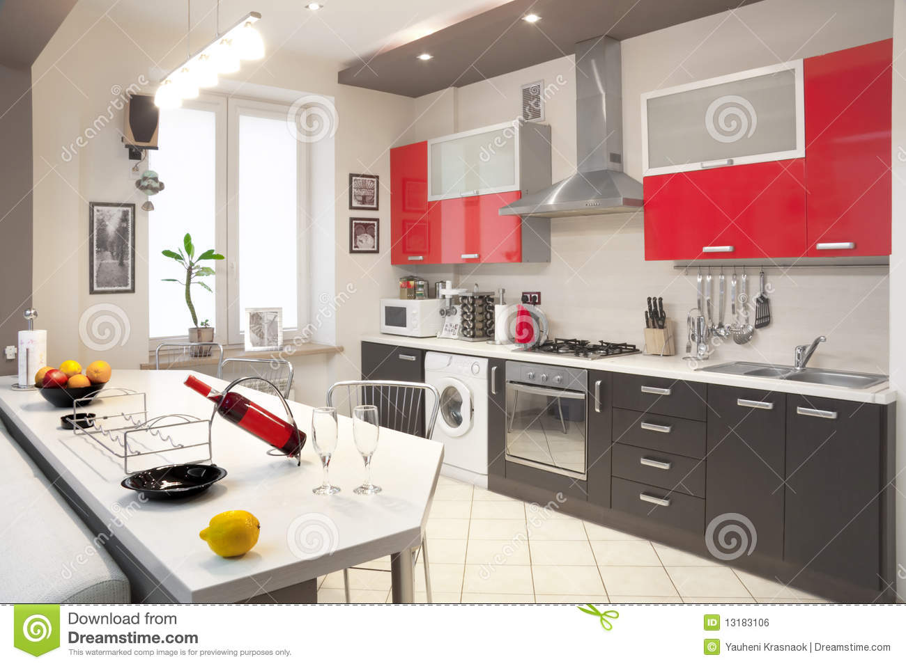 Modern kitchen interior stock photo. Image of indoor - 9