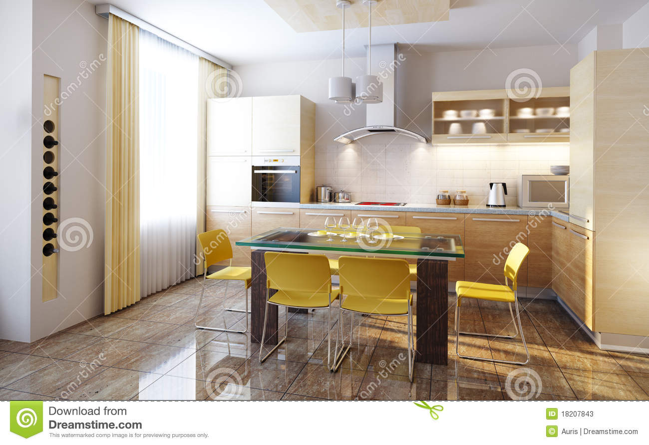 Modern kitchen interior 3d render stock illustration for Modern kitchen interior