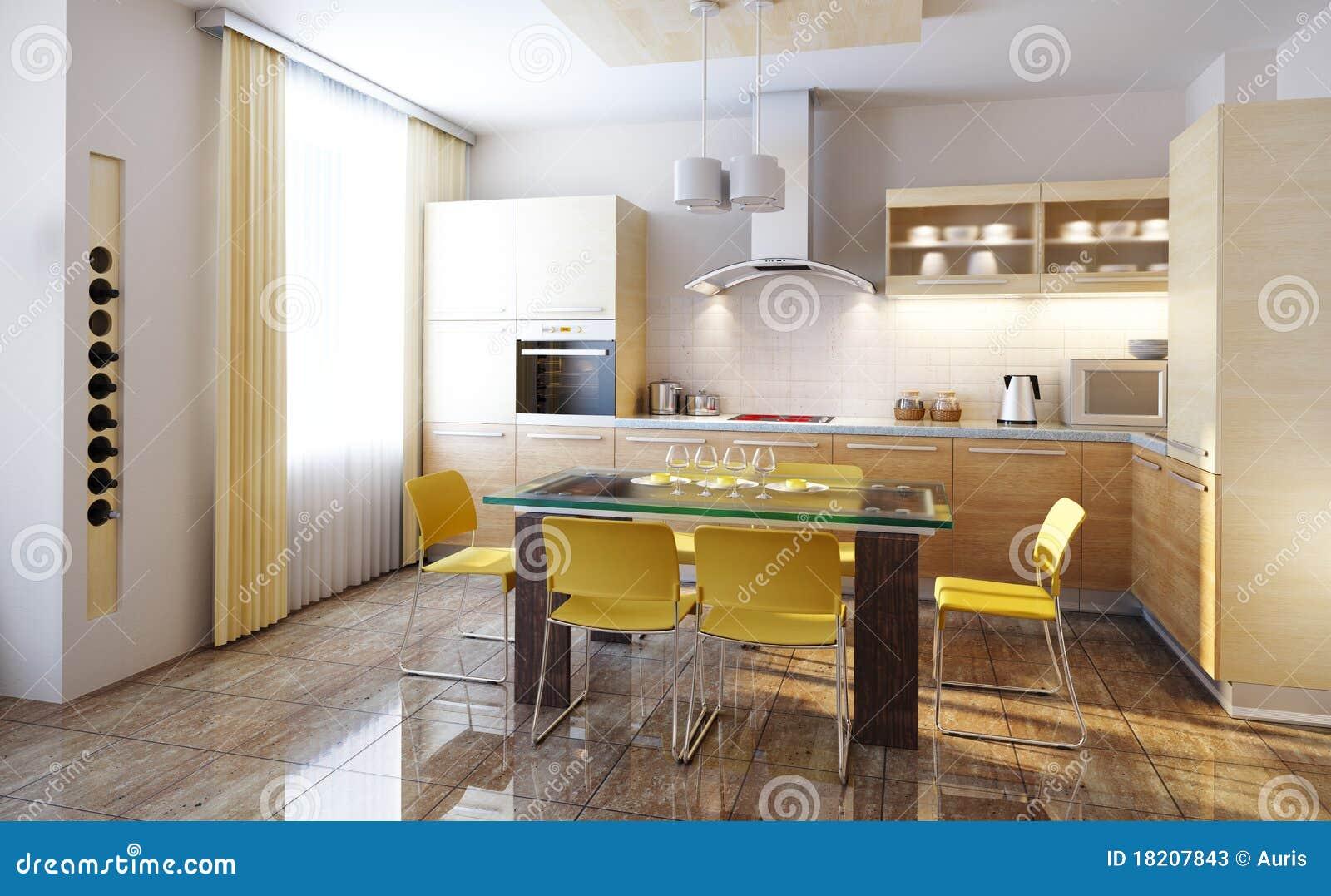 Modern Kitchen Interior 3d Render Stock Illustration Illustration Of Penthouse Comfortable