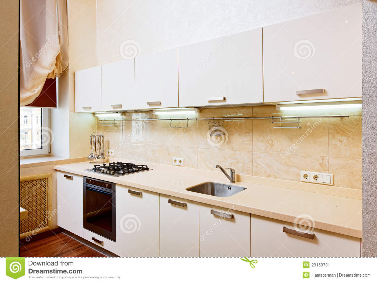 Modern Kitchen Interior Modern Kitchen Interior In Beige Stock Image Image 29159701