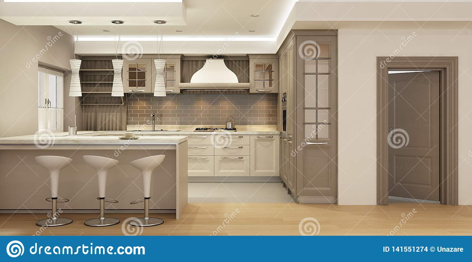 Modern Kitchen Interior In Classic Style With Wooden Facades In Neutral Colors Stock Illustration Illustration Of Chair Flat 141551274