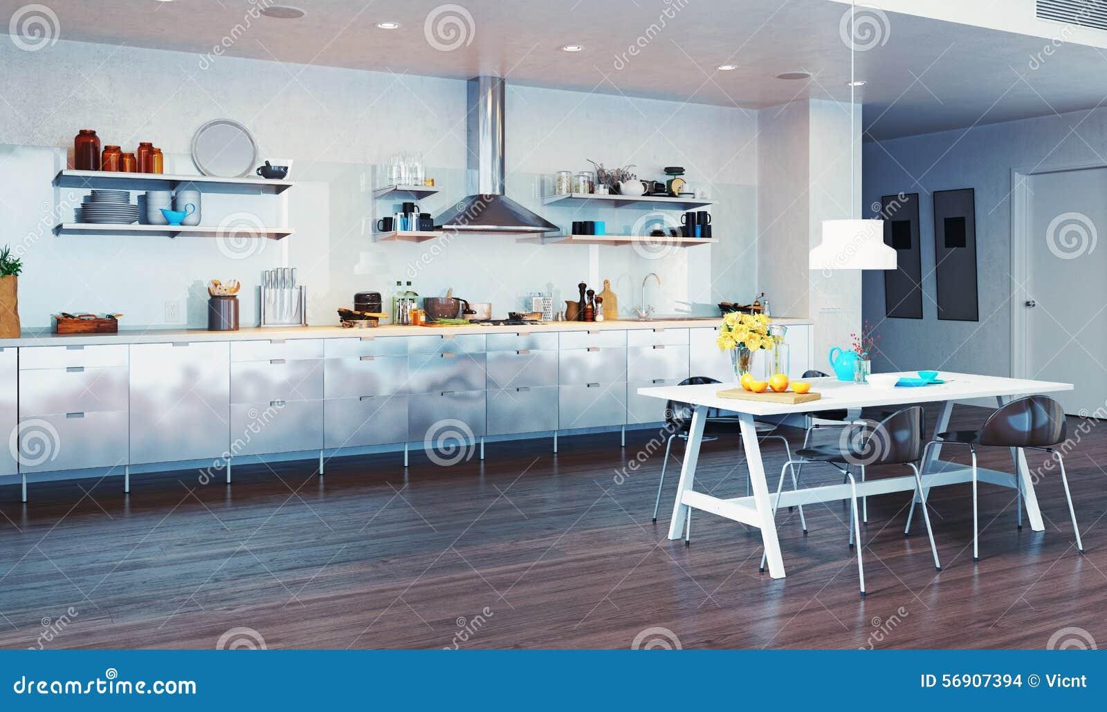 Modern Kitchen Interior Stock Illustration Image 56907394
