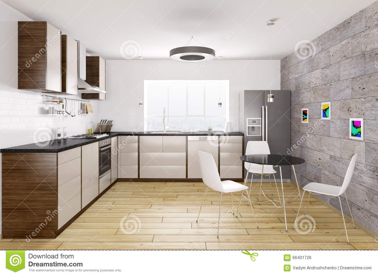 Modern kitchen interior 3d rendering stock illustration for Modern kitchen interior