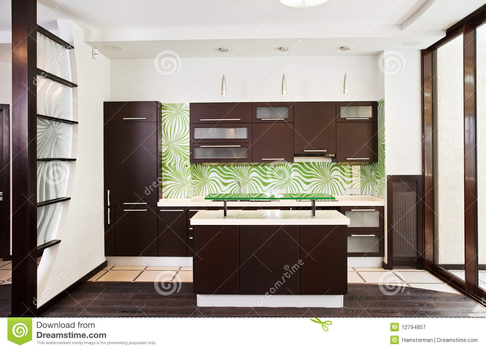 Modern Kitchen Interiors Modern Kitchen Interior With Dark Wooden Floor Royalty Free Stock