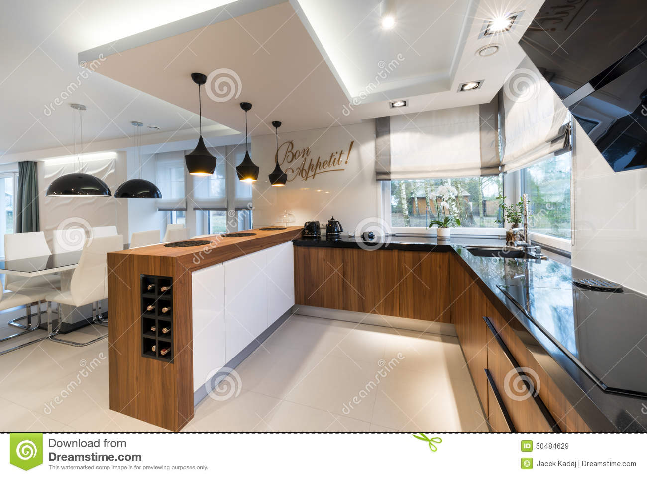 Modern kitchen interior design stock image image of for Kitchen interior design styles
