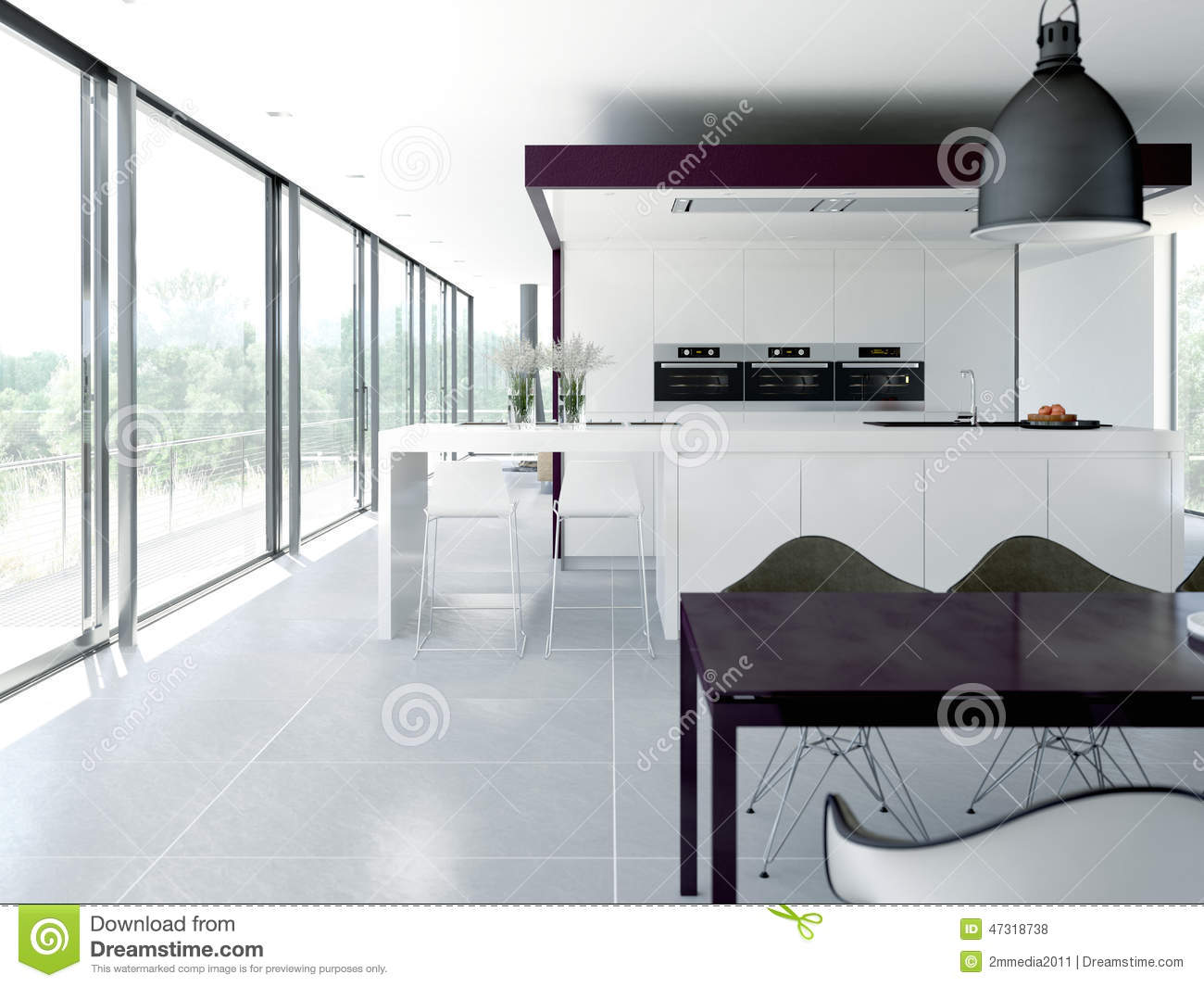 Modern kitchen interior design concept 3d stock Clean modern interior design